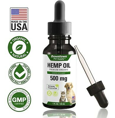 Organic 500 MG Hemp Oil for Dogs Cats 100% Pure Hemp Oil for Stress Joint Health