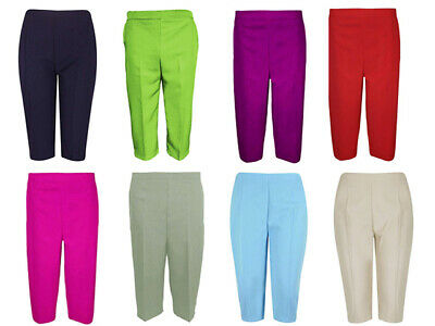 Ladies 3/4 Trousers Womens Elasticated Waist Office Capri Shorts Cropped Pants