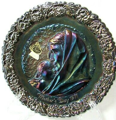 Vintage 1971 Fenton Amethyst Carnival Glass Mother's Day Plate MaDonna Child