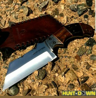 "9"" Full Tang Tanto Knife Hunting Fixed Wood Handle Blade W Brown Leather Sheath"