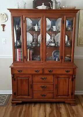 Tell City Chair Co. Hard Rock Maple Young Republic Lit Hutch Cabinet