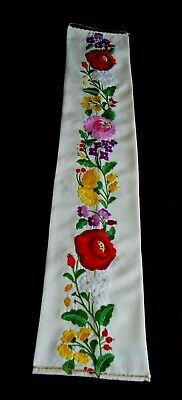 Vtg Primitive Tapestry Wall Art Hanging Panel w hand Emb/red cottage flowers