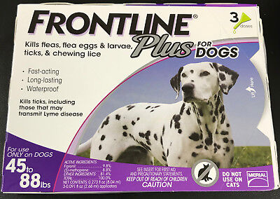 Frontline Plus Flea Tick & Insect Control For Dogs 45-88 LBS 3doses #7209