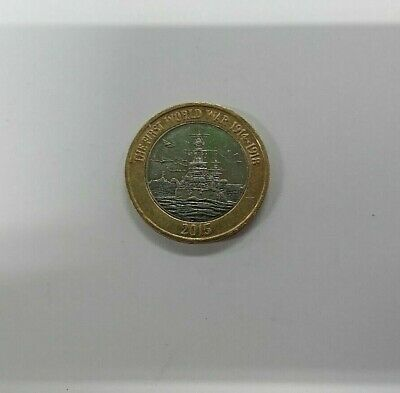 First World War £2 pound coin Royal Navy HMS Belfast 2015