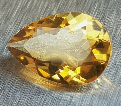 WaterfallGems 3.90ct Citrine Pear, 14.1x9.6mm