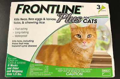 Frontline Plus for Cats and Kittens Up to 8-Week and Older 3 Doses #7407