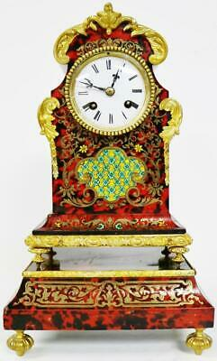 Rare Antique French 8 Day Red Shell, Brass & Enamel Inlaid Boulle Mantel Clock