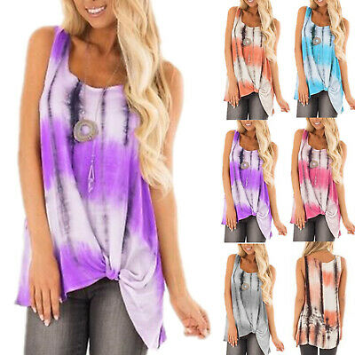 Womens Loose Sleeveless Tie Dye T-shirts Knotted Casual Vest Tops Blouse Tank