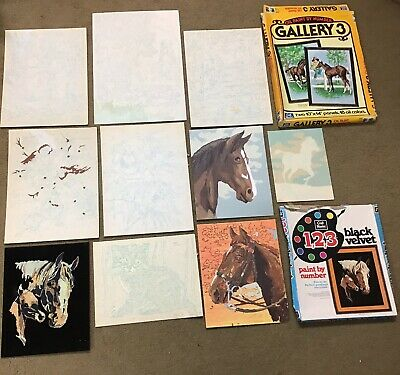 Lot Of Vintage Paint By Number Kit Panels, Not Painted + Partially Done