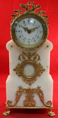 Antique French White Marble Bronze Pillar Mantel Clock 8 Day Platform Escapement