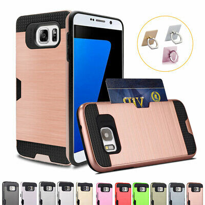For Samsung Galaxy S9/8/7/6 NOTE 9/8/5 J5 J7 Prime Rugged Card Wallet Brush Case