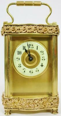 Antique French 8 Day Brass & Fretwork Panel Serpentine Timepiece Carriage Clock