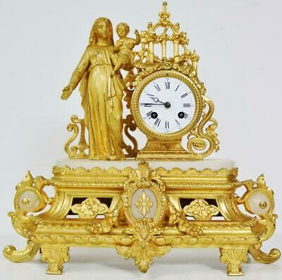 Beautiful Antique French Classical Gilt Metal mantel Clock, 8 Day Bell Striking
