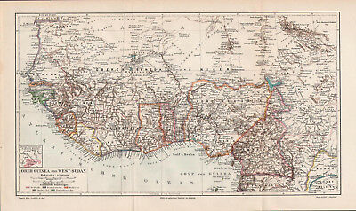 Antique map. UPPER GUINEA & WEST SUDAN. AFRICA. 1905