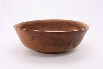 """Wood Turned Bowl Rustic Footed Flared Tapered 10"""" Grained Farmhouse Primitive"""
