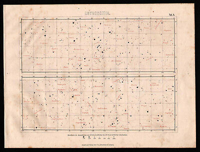 Antique map. STAR MAP. EQUATORIAL ZONE. 1870