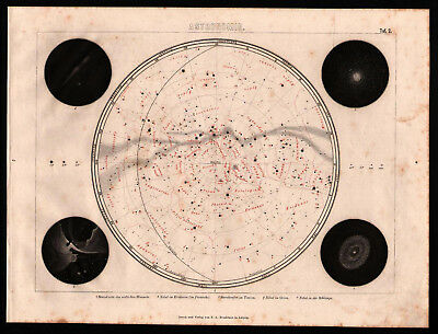 Antique map. STAR MAP. SOUTHERN SKY. 1870