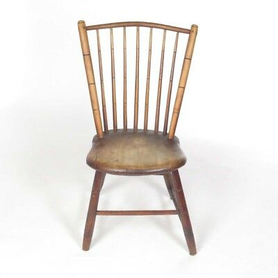 Antique Windsor side chair bamboo turnings wooden 19th c