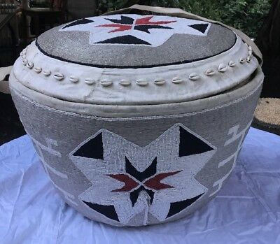 Vintage grass woven beaded Basket with cowrie shells , Africa