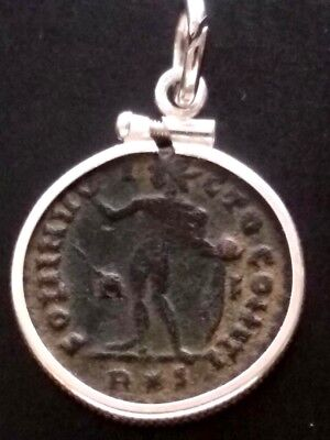 Constantine the Great Rome Ancient Roman Coin Sterling Pendant Red Sandy Patina