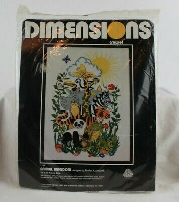 Sunset Stitchery Crewel Embroidery Kit Animal Kingdom Jungle Animals New Sealed