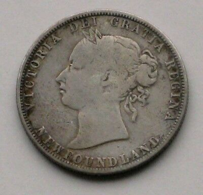 1881 Newfoundland .925 Silver Fifty 50 Cents * Queen Victoria * Circulated *