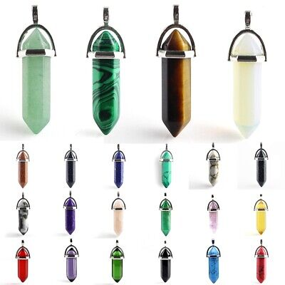 8mm Natural Gemstones Hexagonal Pointed Reiki Chakra Healing Pendant Necklace