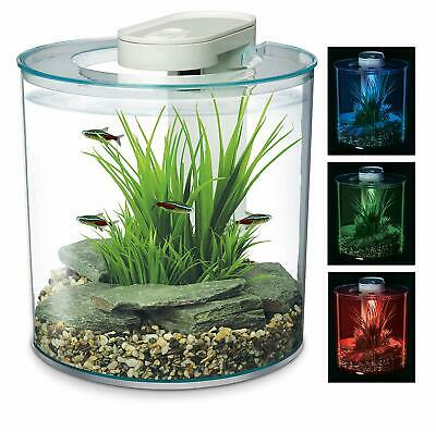 Round Aquarium 360 Degree 10 Litre Fish Tank Custom LED Lighting Glass