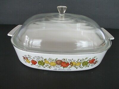 Vintage CORNING WARE Spice of Life Casserole A-10-B with Pyrex P-12-C Lid