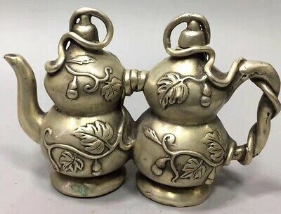 Chinese Ancient Collectable Old Miao Silver Carve Double Gourd Old Tibet Tea Pot