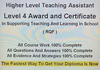 High Level Teaching Assistant RQF Level 4 Evidence, Answers, Strategy 100% Pass
