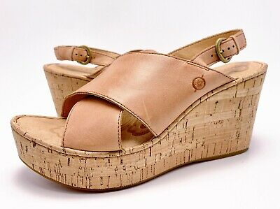 a50708a91ff0 Born 10M Tan Nude Leather Cross Straps Slingback Cork Platform Wedge Sandals