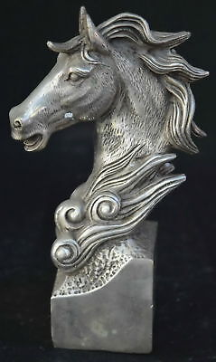 Chinese Handwork Collectable Miao Silver Martyr Horse Head Exorcism Tibet Statue