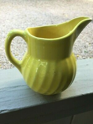 "Vintage USA Oven Ware #15 Yellow Pitcher Round Swirl Design 5 3/4"" Tall"