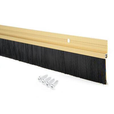 Door Bottom Sweep Gold Tone Aluminum Alloy w 1.4-inch Brush 39-inch x 2.3-inch