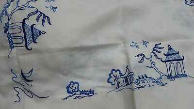 Estate Linen Table Cloths Doilies Placemats Embroidery Blue Willow Lace Napkins