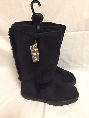 ea31b08ceadc6a Size 3 Womens Ladies Ella Mandy Black Wide Calf Fur Lined Warm Winter Boots -New
