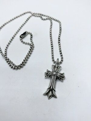9f8fd07d57ba CHROME HEARTS STERLING Silver Double Cross Necklace -  199.00