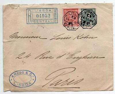 1901 Portugal To France Reg Cover, 65-115 Reis Stamps, High Value !!