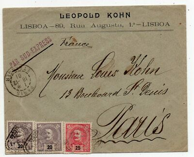 1901 Portugal To France Cover, Nice Stamps, Via South-Express Cancel