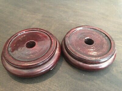 """Beautiful Antique Chinese Pair Vase Base In Rich Heavy Red Wood 3 1/2"""""""