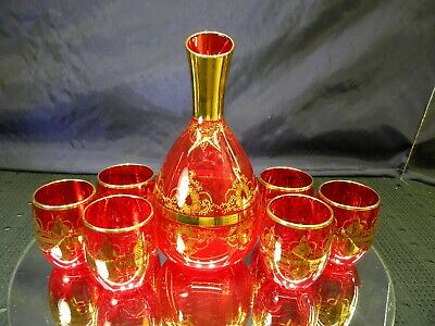 Vintage Ruby Glass Gold Gilded Decante Set with 6 Glasses