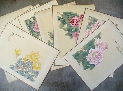 Vintage Chinese Floral Asian  Watercolor On Silk Hand Paint Lot 9 Paintings