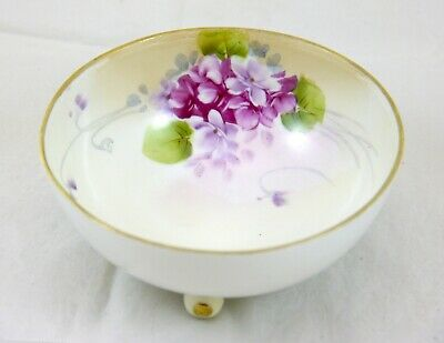 Nippon Hand Painted Porcelain Tri Footed Bowl w Mauve Flowers & Gold Trim 4.6""