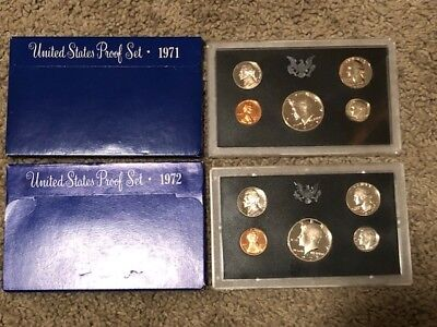 1971-S & 1972-S KENNEDY US Proof Set Five Coin Set Lot of 2