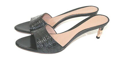 83fbd1da0 GUCCI WOMEN S SZ 8 Black Crocodile Mule Heels Rose Gold Bamboo Tom Ford New  -  385.00