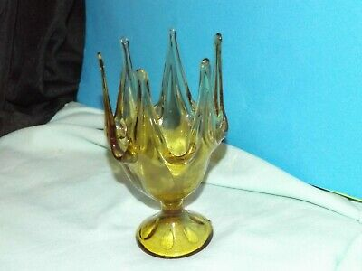 Vintage Mid Century Modern GOLD CROWN FLAMES PULLED GLASS VASE 60's WOW