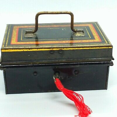 Vintage Small English Cash Tin/Box Toleware With Key C.1920's