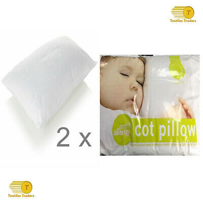 2 x Anti-Allergy Cot Bed Pillow Filling Nursery Baby Junior Toddler 40 x 60 cm