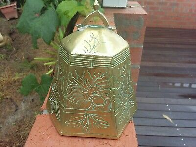 Antique Etched Large Brass Bell.dragon Pattern.6 Sided Brass Bell Chinese Brass